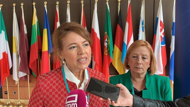 La consejera de Bienestar Social de C-LM, Aurelia Sánchez, en Bruselas