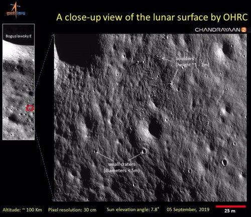 Imágenes de la superficie lunar tomadas por Chandrayaan 2