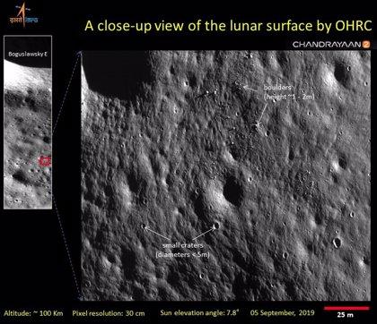 India publica imágenes de 30 cm./píxel tomadas por su orbitador lunar