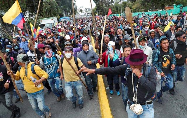 La marcha indígena llega a Quito para continuar las protestas contra el Gobierno de Lenín Moreno