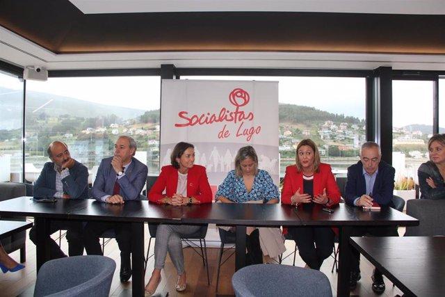 Reunión de los socialistas de la provincia de Lugo con la ministra de Industria, Reyes Maroto