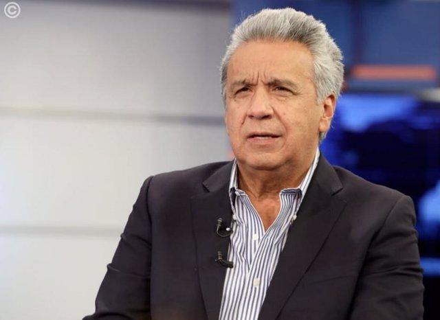 El presidente de Ecuador, Lenín Moreno durante su entrevista en Teleamazonas.