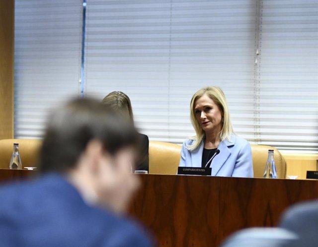 Imagen de archivo de la expresidenta de la Comunidad de Madrid, Cristina Cifuentes, durante una comparecencia en la Asamblea de Madrid.