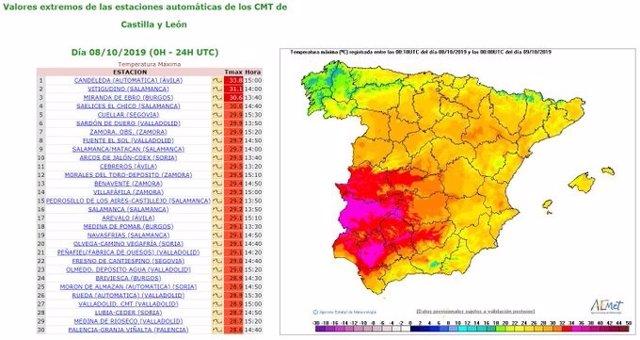 Mapa y ranking elaborado por la Aemet sobre la evolución de las máximas en Castilla y León en la jornada del martes 8 de octubre