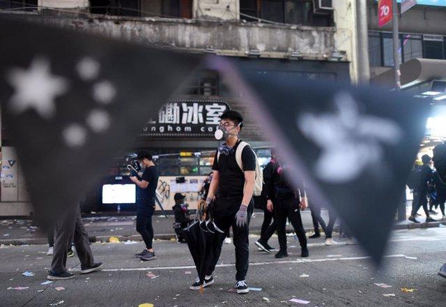 Manifestants en les protestes d'Hong Kong