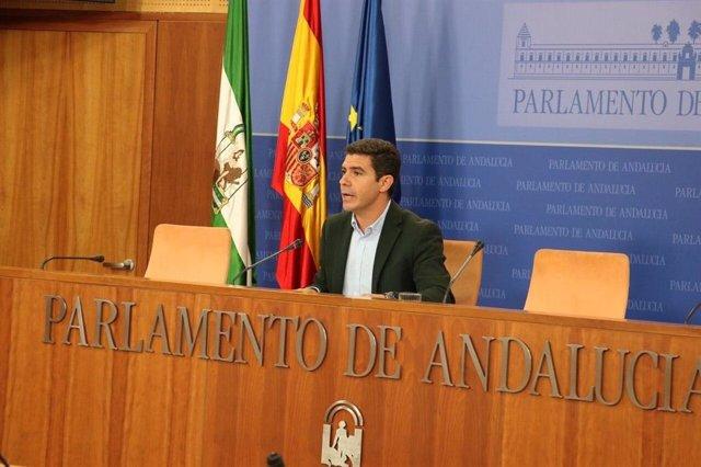 El portavoz parlamentario de Cs, Sergio Romero, en rueda de prensa.