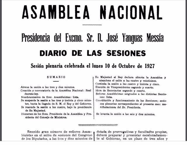 Diario de Sesiones de la sesión constitutiva de la Asamblea Nacional de Primo de Rivera. 10 de octubre de 1927.