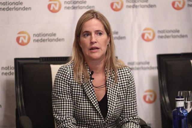 La subdirectora General de Organización, Estudios y Previsión Social Complementaria (DGSFP) María Francisca Gómez Jover, durante el encuentro Informativo de Europa Press '¿Por qué solo el 8,1% de las empresas españolas tienen sistemas de previsión para la