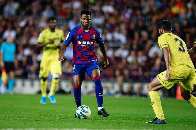 Ansu Fati, en un partido con el FC Barcelona.