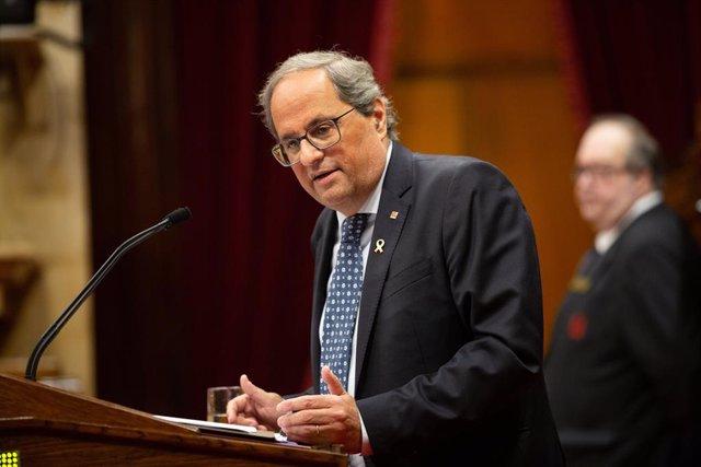 El president de la Generalitat, Quim Torra, intervé en el debat sobre política general al Parlament de Catalunya