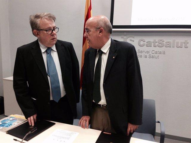 El president del Consell de Col·legis de Metges de Cataluya, Jaume Padrós, i el conseller de Salut, Boi Ruiz.