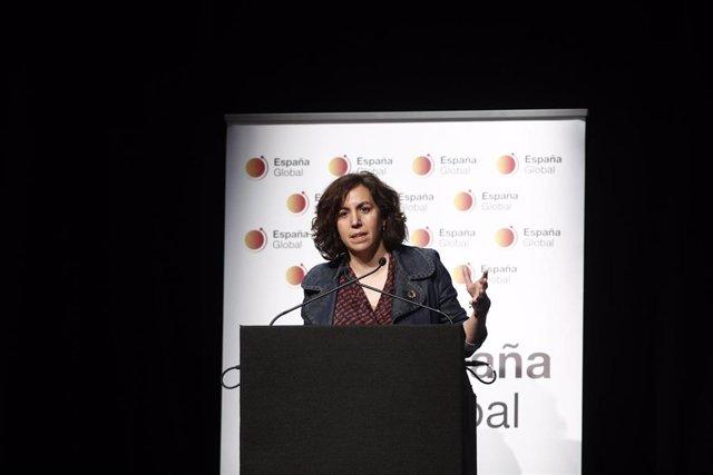 La secretaria de Estado de la España Global, Irene Lozano, interviene en la presentación del blog 'The Real Spain'  en el Círculo de Bellas Artes de Madrid.