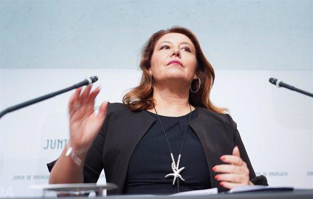 La consejera de Agricultura, Carmen Crespo , este martes en la rueda de prensa posterior a la reunión semanal del Consejo de Gobierno.