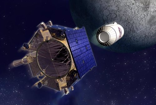 Recreación artística de la sonda LCROSS precedida del Centauro
