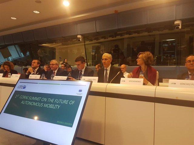 El conselleiro de Economía, Emprego e Industria, Francisco Conde, durante su participación en el I Cumbre sobre el futuro de la movilidad autónoma