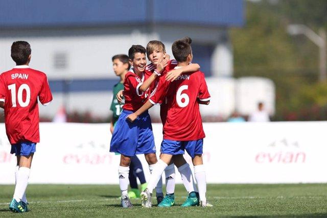 España, en una fase clasificatoria de la Danone Nations Cup