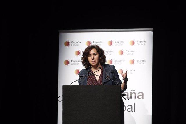 La secretria d'Estat de l'Espanya Global, Irene Lozano, intervé en la presentació del blog 'The Real Spain'  en el Cercle de Belles arts de Madrid.