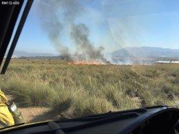Imagen del incendio en la Sierra de la Cabeza del