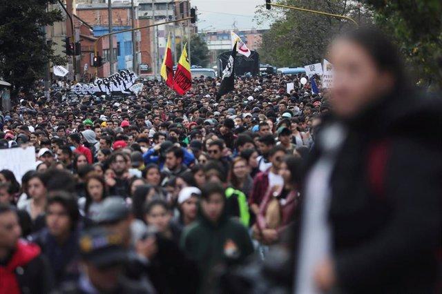Protesta de estudiantes en Colombia.
