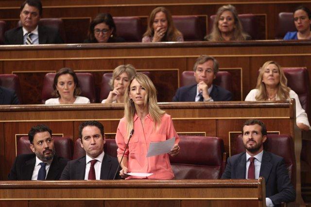 La portaveu del PP al Congrés, Cayetana Álvarez de Toledo, compareix en sessió de control al Govern en funcions un dia després de conèixer-se la gairebé plena seguretat d'unes eleccions el 10 de novembre, a Madrid (Espanya), a 18 de setembre de 201