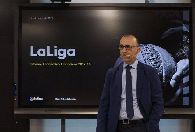 Javier Gómez, director genera de LaLiga, presenta el informe económico de 2017-2018