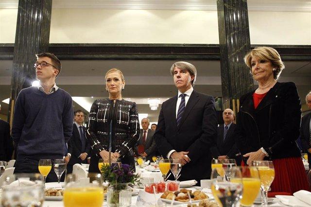 Íñigo Errejón, Esperanza Aguirre y Cristina Cifuentes en los Desayunos de Europa Press