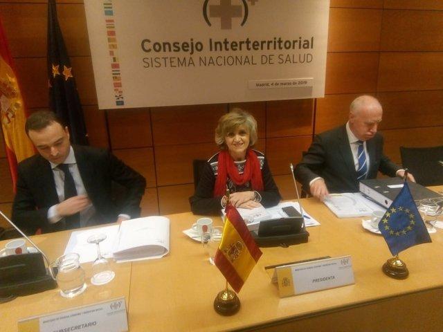 Maria Luisa Carcedo, ministra de Sanidad presidiendo el CISNS