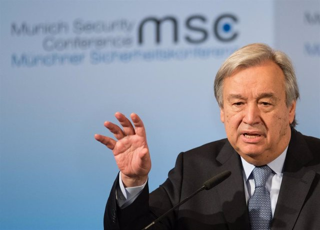 FILED - 18 February 2017, Munich: UN Secretary-General Antonio Guterres speaks at the Munich Security Conference at the Bayerischer Hof. Guterres has strongly condemned the attack on a synagogue in the German city of Halle, in a statement from his spokesm