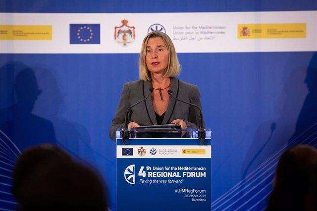 La alta representante para la Política Exterior de la UE, Federica Mogherini, en el Foro Regional de la Unión por el Mediterráneo.