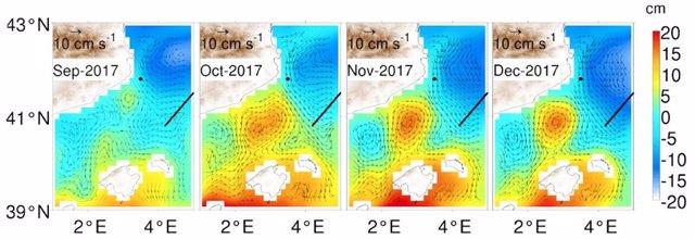 Imágenes del estudio del Socib que ha detectado un remolino anticiclónico de 60 km de radio en el Mediterráneo.