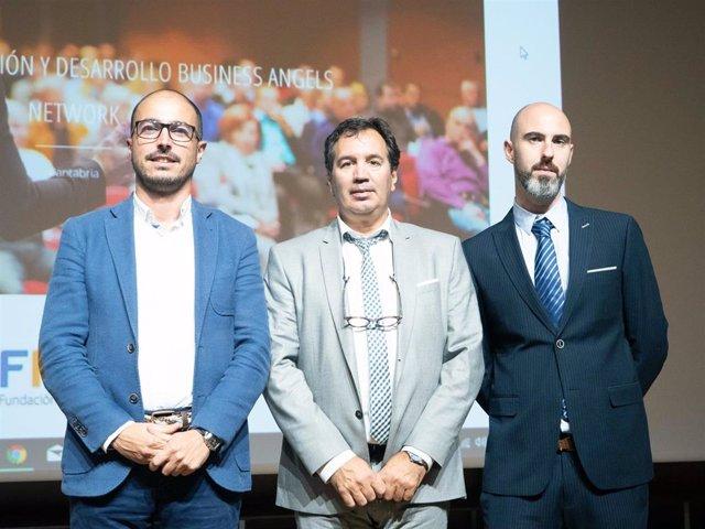 Los emprendedores participantes en la ronda de FIDBAN del 8 de octubre: Pablo Huidobro, Antonio Lago y Roberto Pellicer (de izqda a dcha)