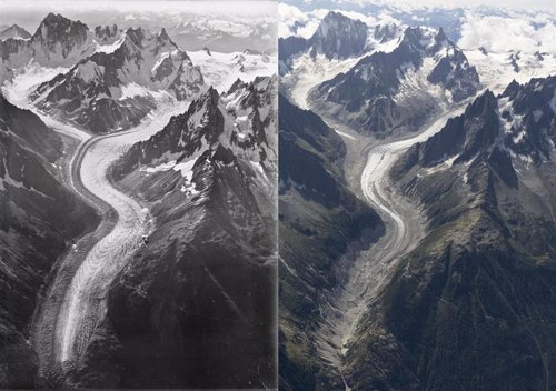 Comparativa de glaciar Mer du Glace entre 1919 y 2019