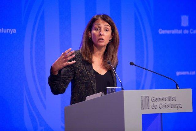 La portaveu del Govern de la Generelitat, Meritxell Budó, en roda de premsa després del Consell Executiu, a Barcelona (Espanya), a 8 d'octubre de 2019.