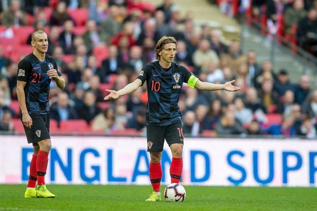 Luka Modric, en un partido con la selección de Croacia.