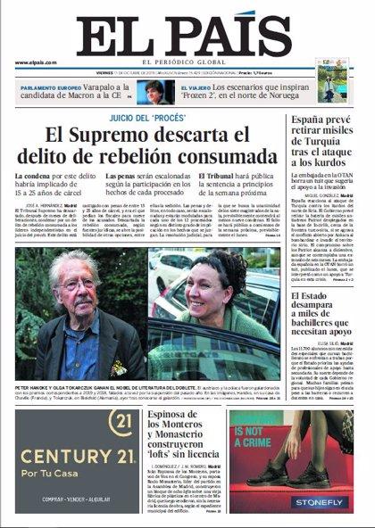 Las portadas de los periódicos del viernes 11 de octubre de 2019
