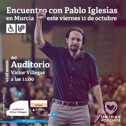 Cartel visita Pablo Iglesias a Murcia el 11 de octubre 2019