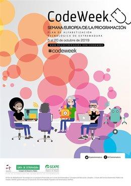Cartel de actividades del Plan de Alfabetización Tecnológica de Extremadura con motivo de la Semana Europea de la Programación