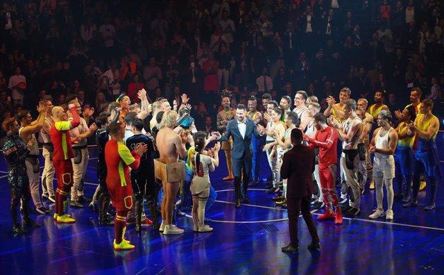 Leo Messi, en el escenario de 'Messi10' al final del estreno mundial en Barcelona