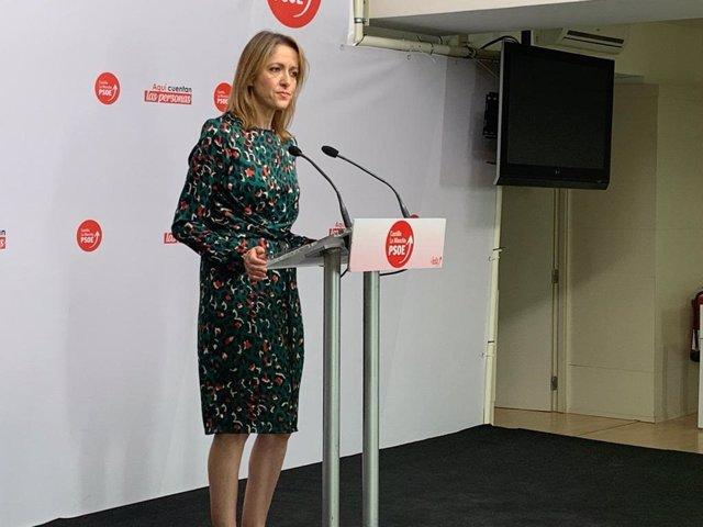 La portavoz del PSOE de C-LM, Cristina Maestre, en rueda de prensa