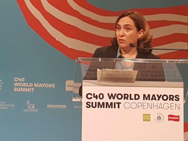 L'alcaldessa de Barcelona, Ada Colau, en la cimera mundial de grans ciutats compromeses amb l'emergència climàtica a Copenhaguen