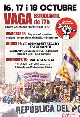 Cartell de la vaga del Sindicat d'Estudiants.