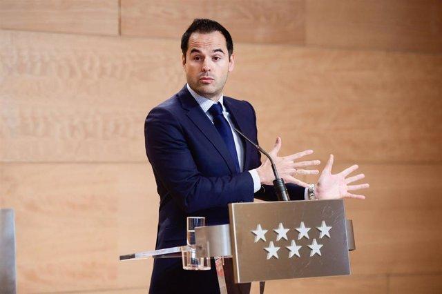 Ignacio Aguado, vicepresidente de la Comunidad de Madrid en rueda de prensa posterior al Consejo de Gobierno