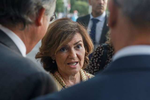 La vicepresidenta del Govern central i ministra d'Igualtat en funcions, Carmen Calvo, a 9 d'octubre de 2019.