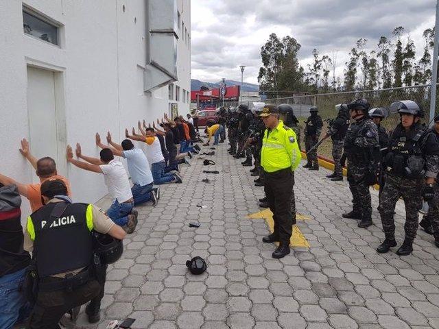 Detenidos en Quito en el marco de las protestas contra el Gobierno de Lenín Moreno