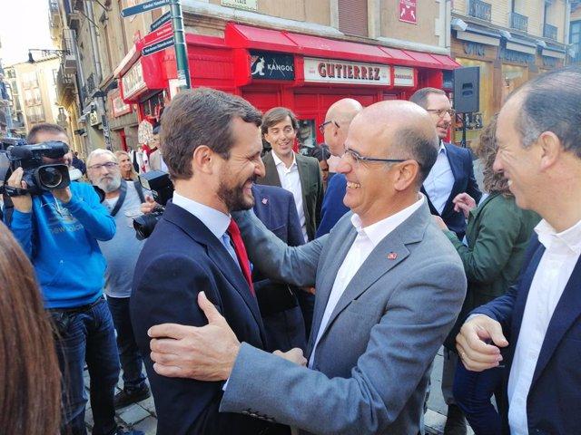Pablo Casado saluda a Pamplona Alberto Catalán, candidat de Navarra Suma al Senat