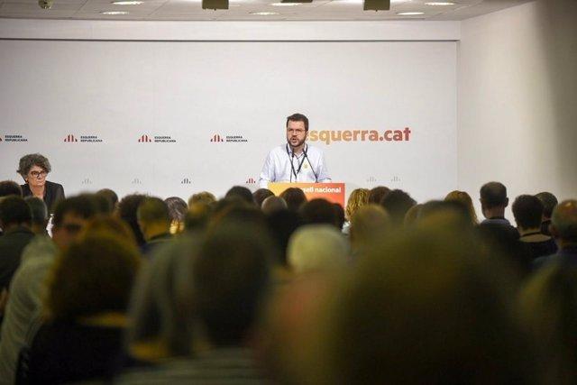 Pere Aragonès, coordinador nacional d'ERC, al Consell Nacional del partit.