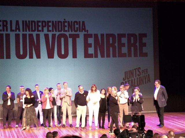 Acte de JxCat 'Per la independència, ni un pas enrere' a Terrassa (Barcelona), encapçalat pel president de la Generalitat Quim Torra, l'expresident Artur Mas i la diputada del Congrés Laura Borràs