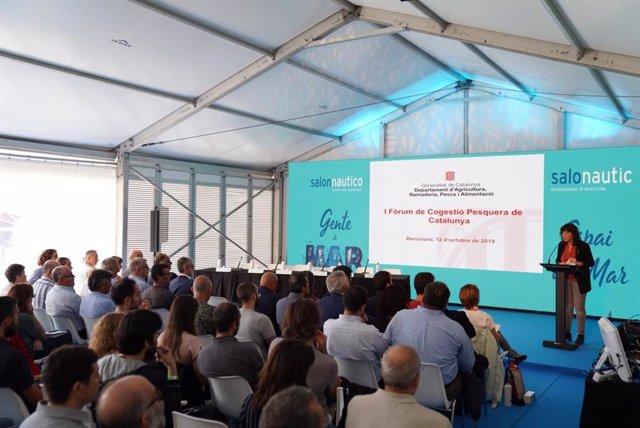 La consellera d'Agricultura, Ganaderia, Pesca i Alimentació, Teresa Jordà, durant la inauguració del Fòrum de Cogestió Pesquera de Catalunya.