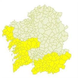 Aviso amarillo de Meteogalicia para el domingo 13 de octubre de 2019.