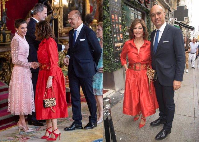 Ana rosa quintana doblete con un vestido rojo para ver a los reyes e ir de boda